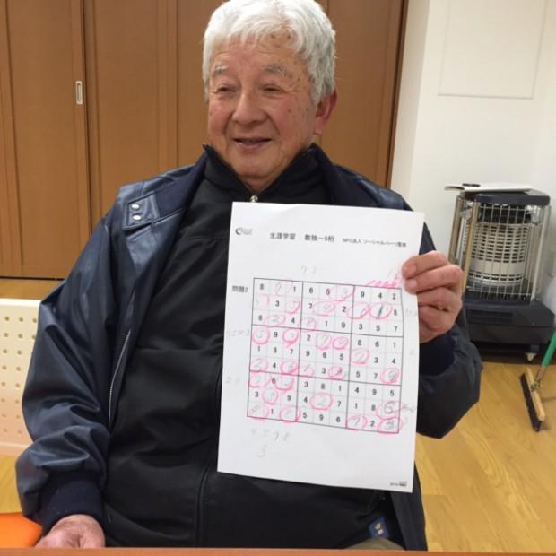 初参加の男性高齢者@末広町災害公営住宅集会場 Feb.2017
